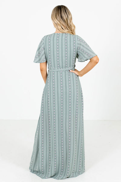 Women's Sage Waist Tie Detailed Boutique Maxi Dress