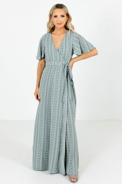 Sage Green Wrap Style Boutique Maxi Dresses for Women
