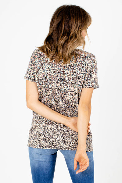 Women's Brown V-Neckline Boutique Top