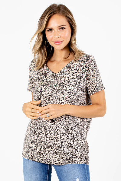 Women's Brown Animal Print Boutique Top