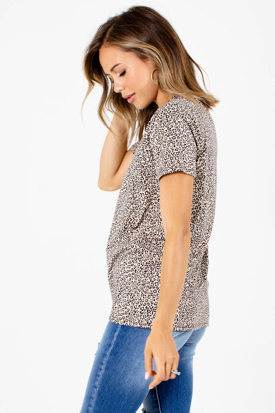 Taupe Brown Soft Material Boutique Tops for Women