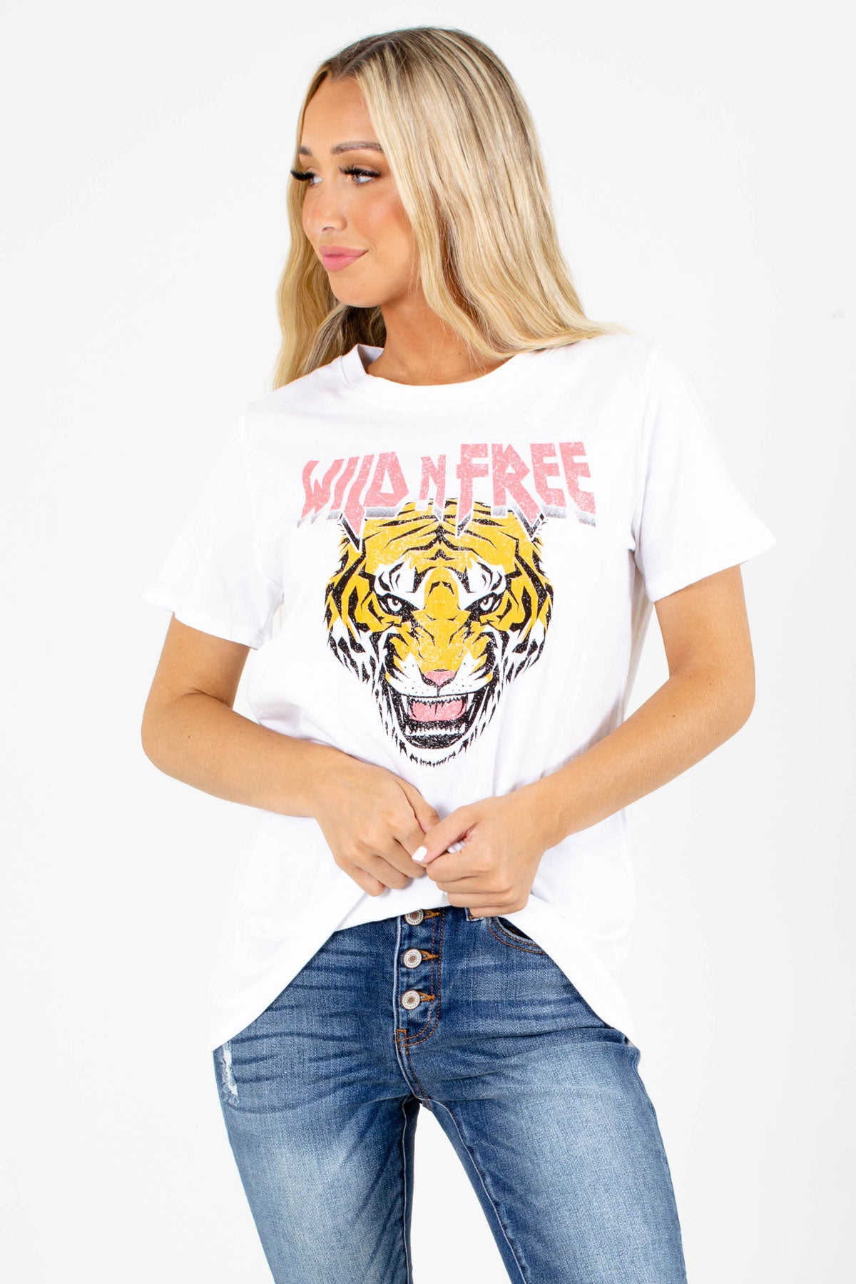 "White ""Wild 'N Free"" Lettering Boutique Graphic Tees for Women"