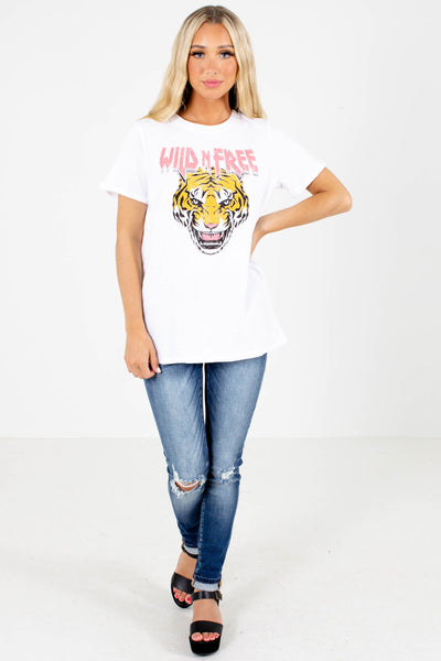White Casual Everyday Boutique Graphic T-Shirts for Women
