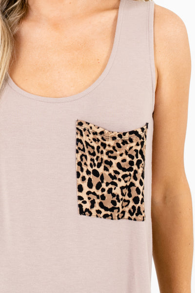 Brown Cute and Comfortable Boutique Tank Tops for Women