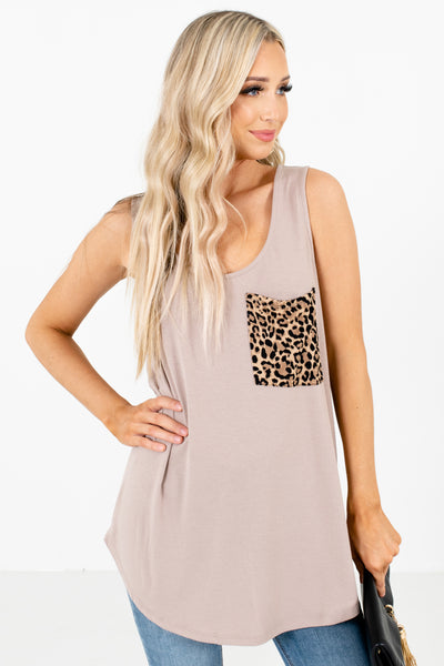 Brown Leopard Print Accented Boutique Tank Tops for Women