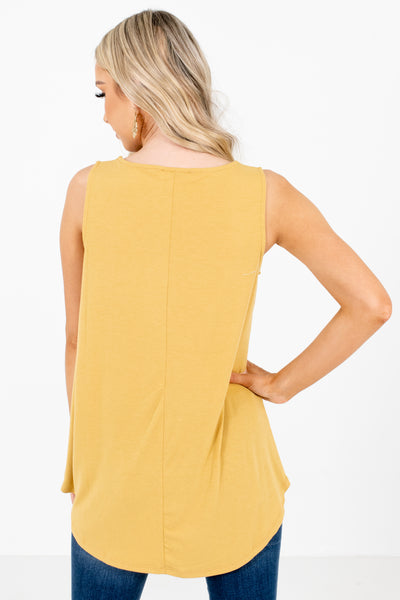 Women's Mustard Front Pocket Boutique Tank Top
