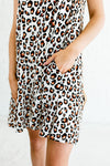White Leopard Print Boutique Mini Dress with Pockets for Women
