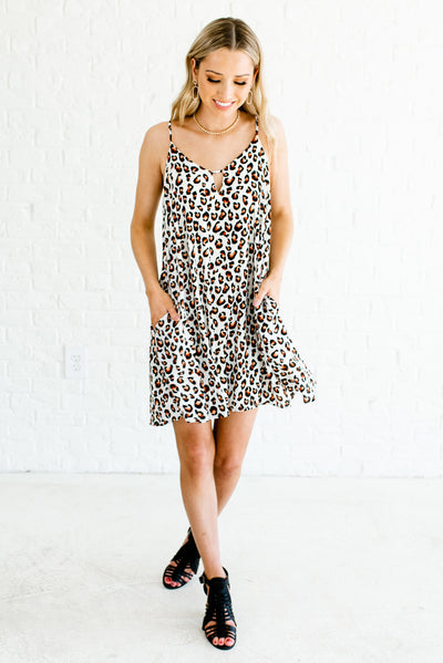 White Leopard Print Women's Night Out Boutique Dress Clothing
