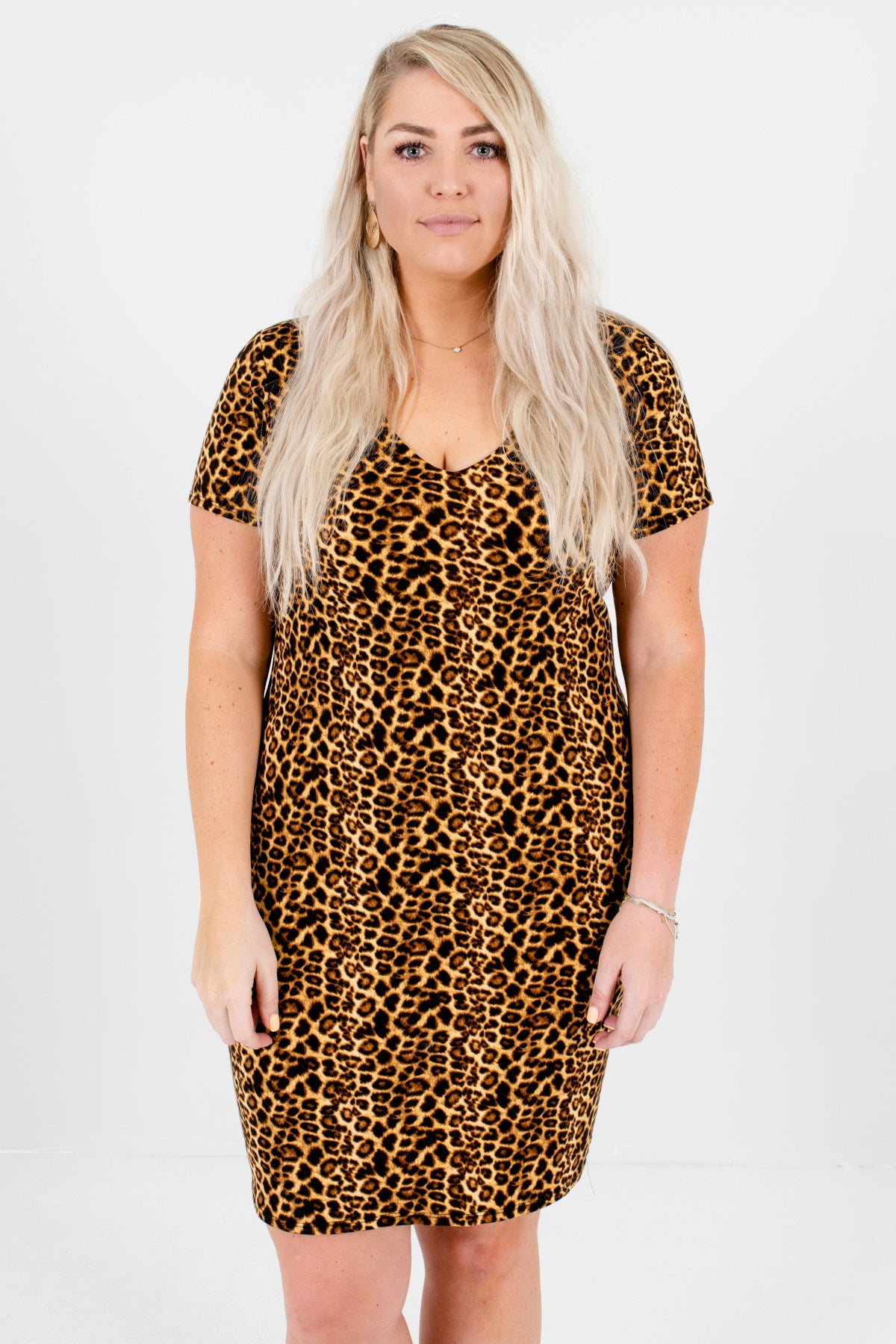 Brown Leopard Animal Print Plus Size Short Sleeve Mini Dresses