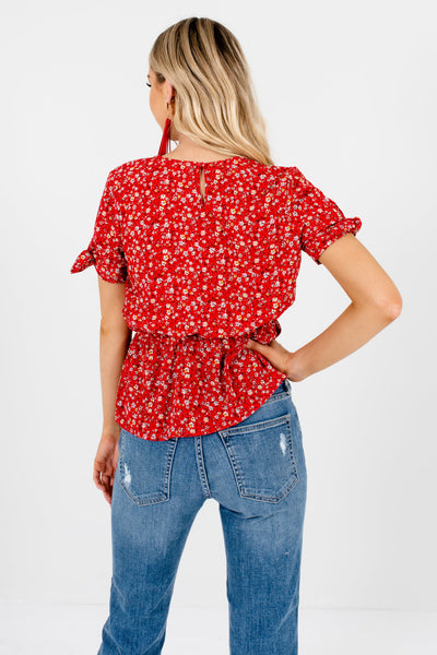 Red Floral Print Self-Tie Sleeves Wrap Style Peplum Tops for Women