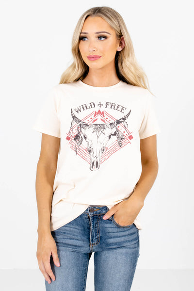 Cream Cute and Comfortable Boutique Tees for Women