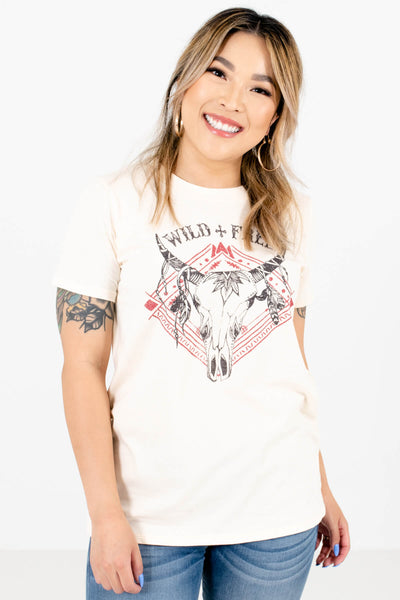 Cream Classic T-Shirt Fit Boutique Graphic Tees for Women