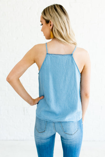 Blue Chambray Women's Floral Embroidered Boutique Tank Top