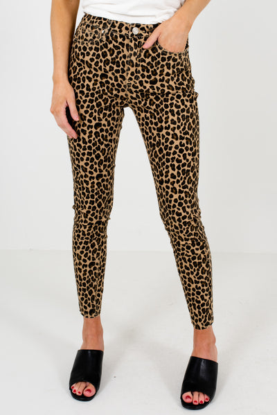 Beige Brown Leopard Print Patterned Boutique Skinny Jeans for Women