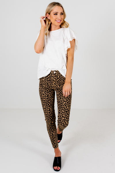 Women's Beige Brown Animal Print Boutique Clothing