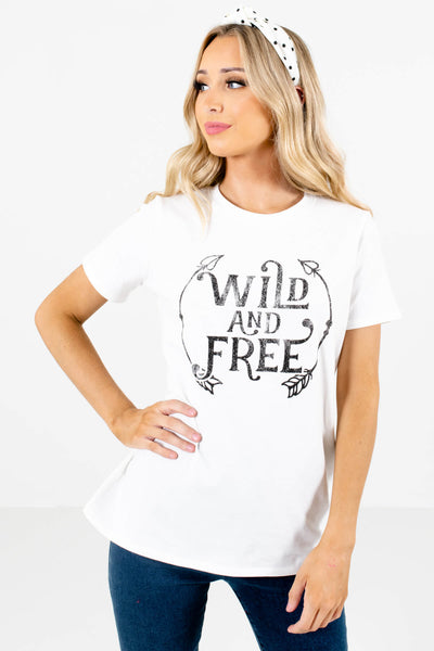 Women's White Round Neckline Boutique T-Shirt