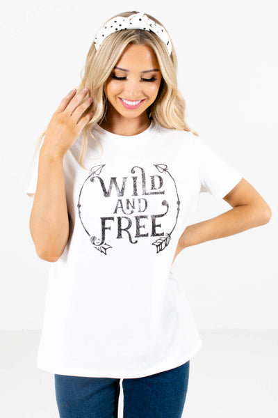 White and Black Boutique Graphic T-Shirts for Women