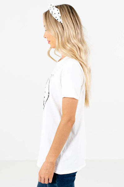 White Arrow Graphic Boutique T-Shirts for Women