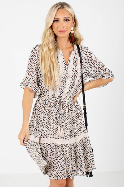 Cream Abstract Patterned Boutique Knee-Length Dresses for Women