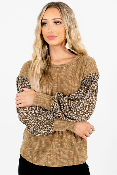 Women's Olive Lightweight Knit Material Boutique Top