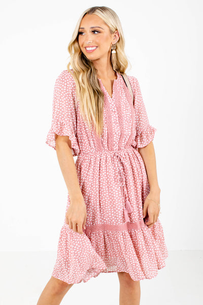Pink Tassel Tie Accented Boutique Knee-Length Dresses for Women