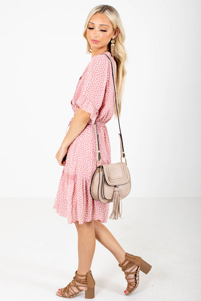 Women's Pink Ruffled Accented Boutique Knee-Length Dress
