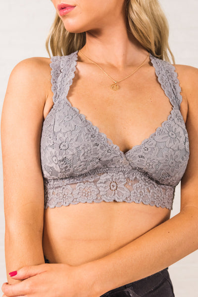 Light Gray Semi-Sheer Boutique Bralettes for Women