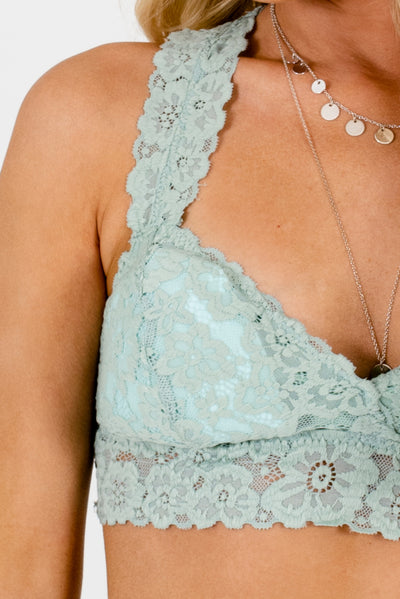 Mint Green Semi-Sheer Boutique Bralettes for Women