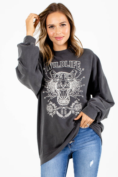 Gray Cute and Comfortable Boutique Graphic T-Shirts for Women