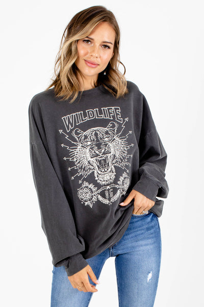 Gray Long Sleeve Boutique Graphic Tees for Women