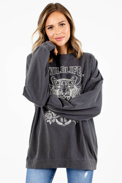 Women's Gray Tiger Graphic Boutique Graphic Tee