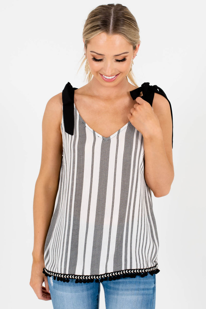 Win-Win Situation White Striped Tank