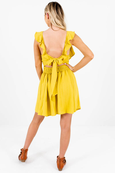 Chartreuse Green Yellow Ruffle Pleated Pinafore Mini Dresses Boutique