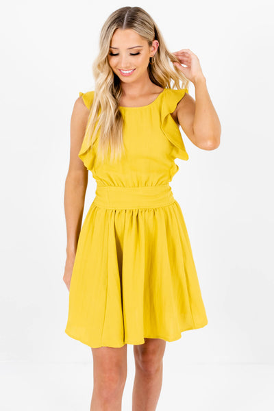 Yellow-Green Ruffle Pleated Bow Pinafore Mini Dresses for Women
