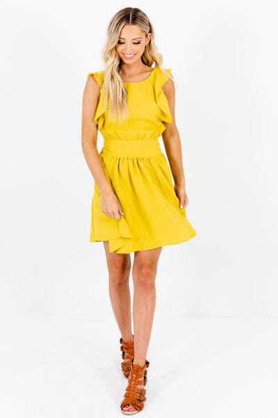 Chartreuse Green Yellow Pleated Mini Dresses Affordable Online Boutique