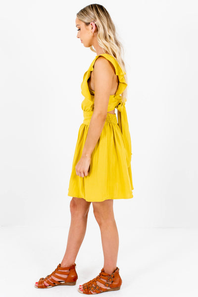 Chartreuse Yellow Green Unique Pinafore Mini Dresses for Women