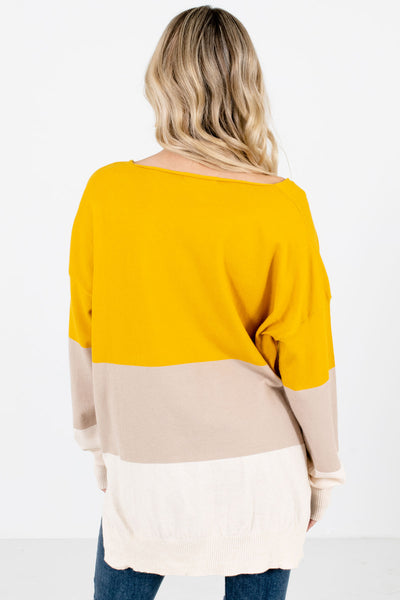 Women's Mustard V-Neckline Boutique Sweater