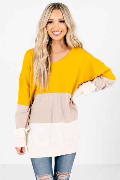 Mustard Tan and Beige Color Block Patterned Boutique Sweaters for Women