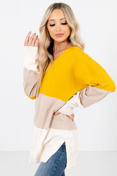Mustard Yellow Split Hem Boutique Sweaters for Women