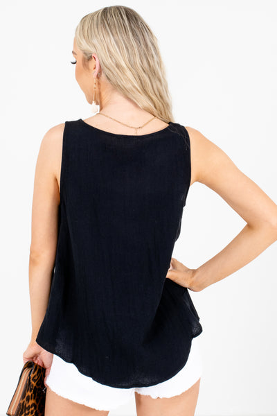 Women's Black Round Neckline Boutique Tank Top