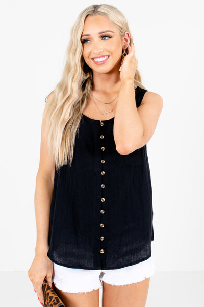 Black Decorative Button Boutique Tank Tops for Women
