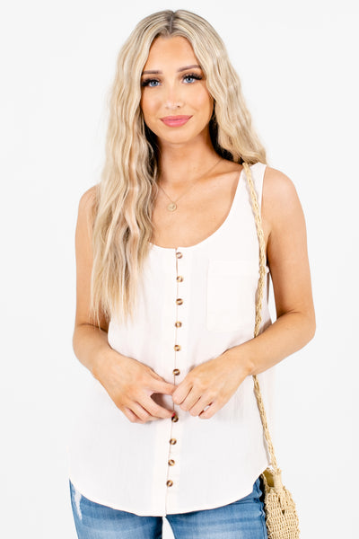 Cream Front Pocket Boutique Tank Tops for Women
