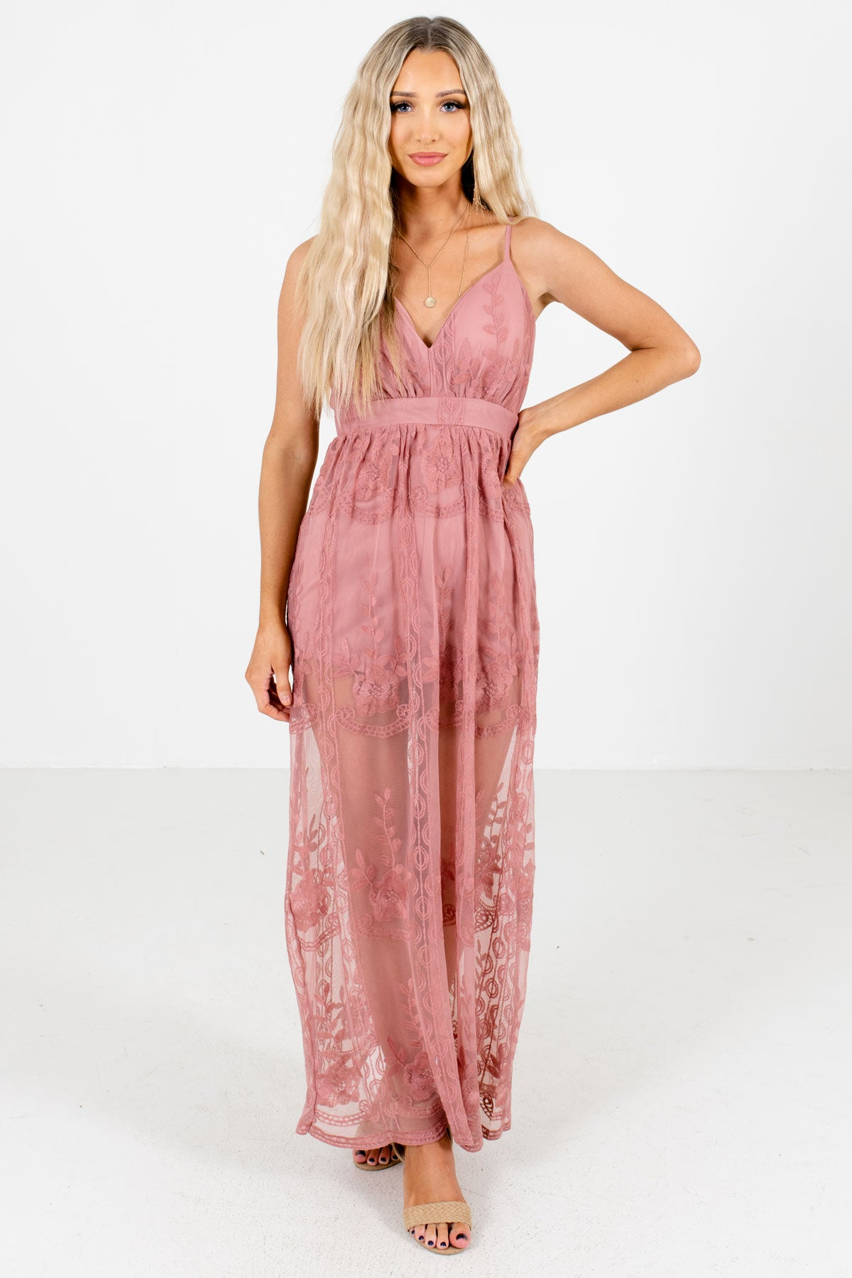Dark Mauve Adjustable Strap Boutique Maxi Rompers for Women