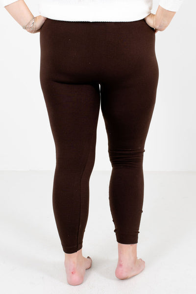 Women's Brown Fleece-Lined Boutique Leggings