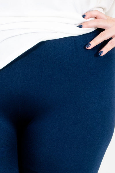Women's Navy Blue Fleece-Lined Boutique Leggings