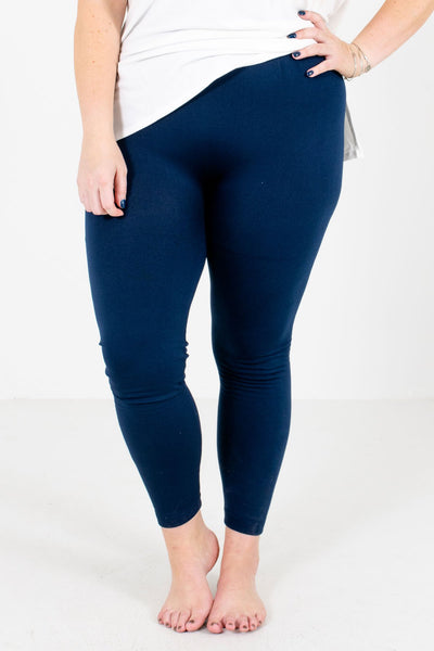 Women's Navy Blue Warm and Cozy Boutique Leggings