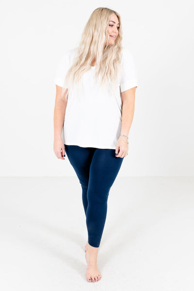 Winter Wonderland Navy Fleece-Lined Curvy Leggings