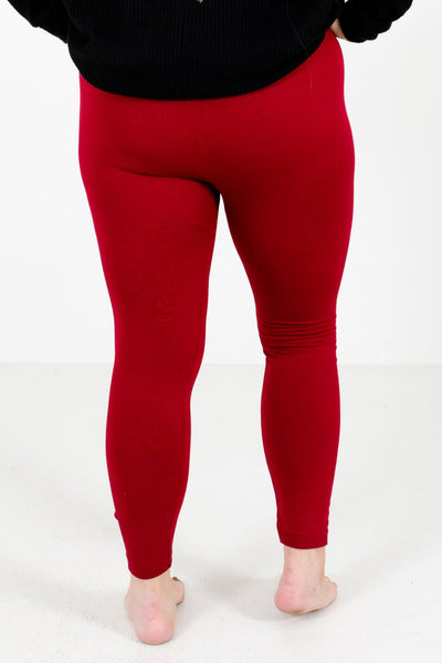 Women's Red Fleece-Lined Boutique Leggings