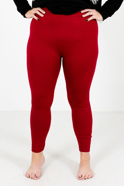 Red Skinny Slimming Fit Boutique Leggings for Women