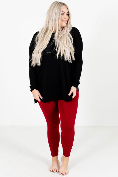 Women's Red Warm and Cozy Boutique Leggings